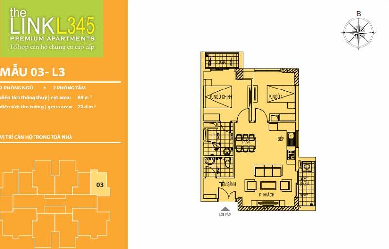 Thiết kế căn hộ 03 TheLink 345 Khu đô thị Ciputra - Nam Thăng Long