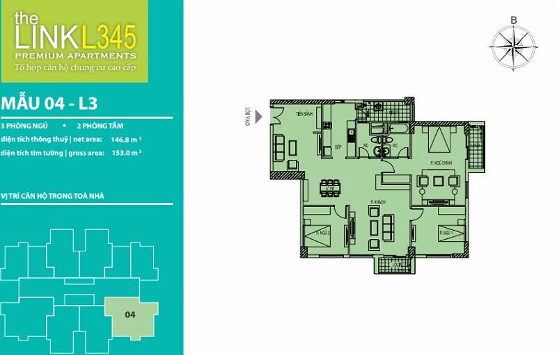 Thiết kế căn hộ 04 TheLink 345 Khu đô thị Ciputra - Nam Thăng Long