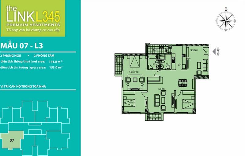 Thiết kế căn hộ 07 TheLink 345 Khu đô thị Ciputra - Nam Thăng Long
