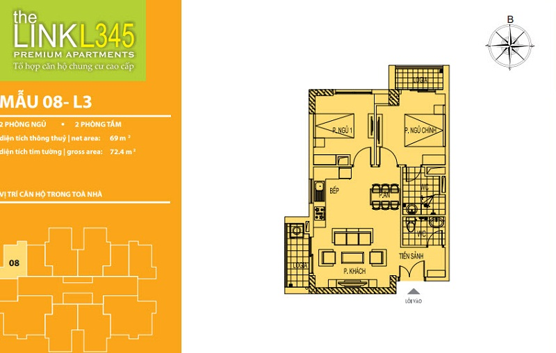 Thiết kế căn hộ 08 TheLink 345 Khu đô thị Ciputra - Nam Thăng Long