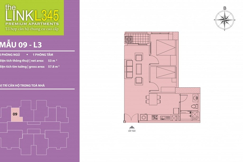 Thiết kế căn hộ 09 TheLink 345 Khu đô thị Ciputra - Nam Thăng Long
