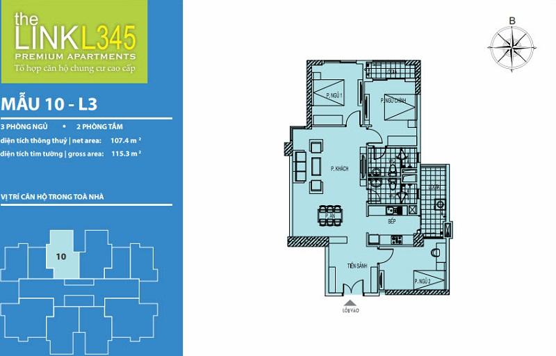 Thiết kế căn hộ 10 TheLink 345 Khu đô thị Ciputra - Nam Thăng Long