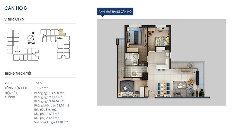 Thiết kế căn hộ loại b Rivera Park Hà Nội - 69 Vũ Trọng Phụng