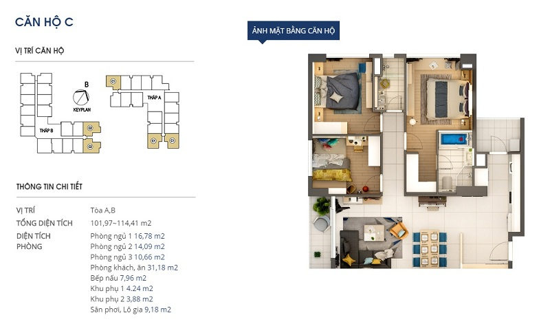 Thiết kế căn hộ loại c Rivera Park Hà Nội - 69 Vũ Trọng Phụng