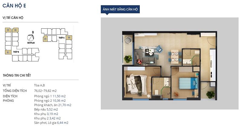 Thiết kế căn hộ loại e Rivera Park Hà Nội - 69 Vũ Trọng Phụng