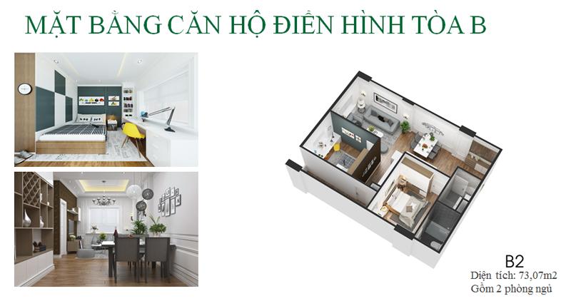 Thiết kế căn hộ loại B dự án Eco City Việt Hưng - Long Biên