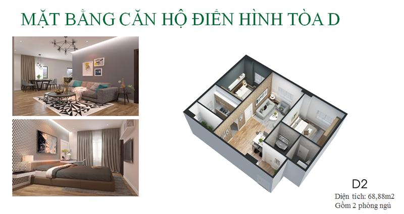 Thiết kế căn hộ loại D Eco City Việt Hưng - Long Biên