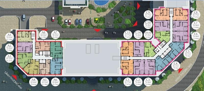 Mặt bằng căn hộ tầng 3 đến 8 Eco City Việt Hưng - Long Biên