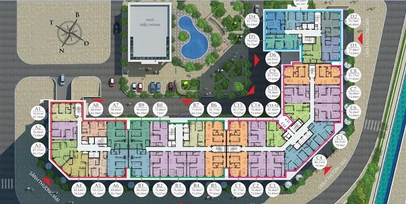 Mặt bằng căn hộ tầng 9 đến 16 dự án Eco City Việt Hưng - Long Biên