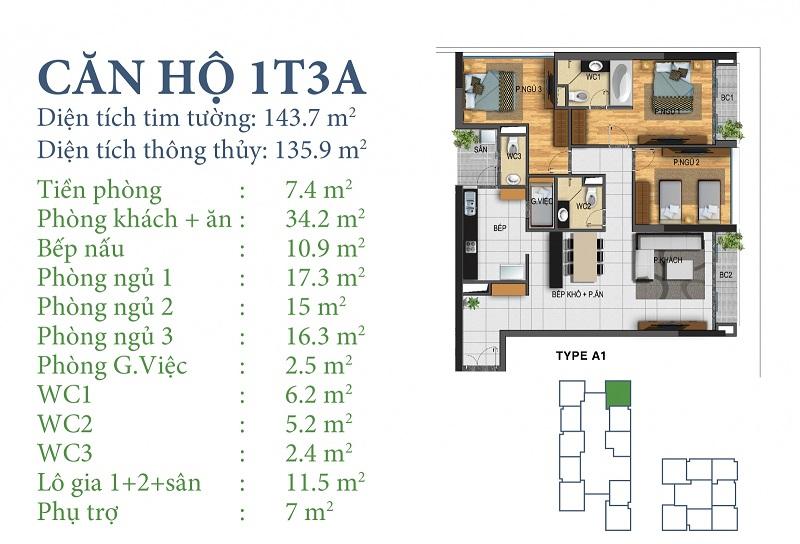 Thiết kế chi tiết căn 1 tòa N03T3A Horizon Tower - Ngoại Giao Đoàn