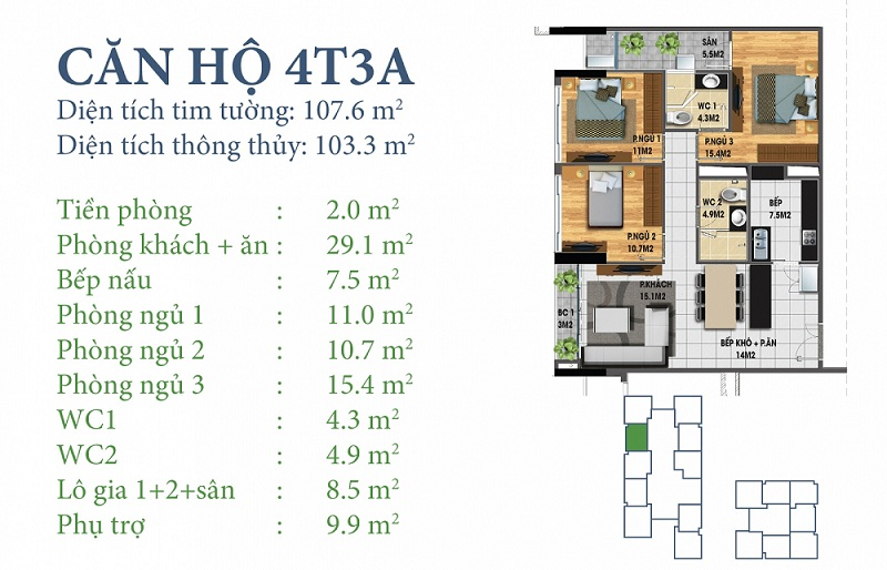 Thiết kế chi tiết căn 4 tòa N03T3A Horizon Tower