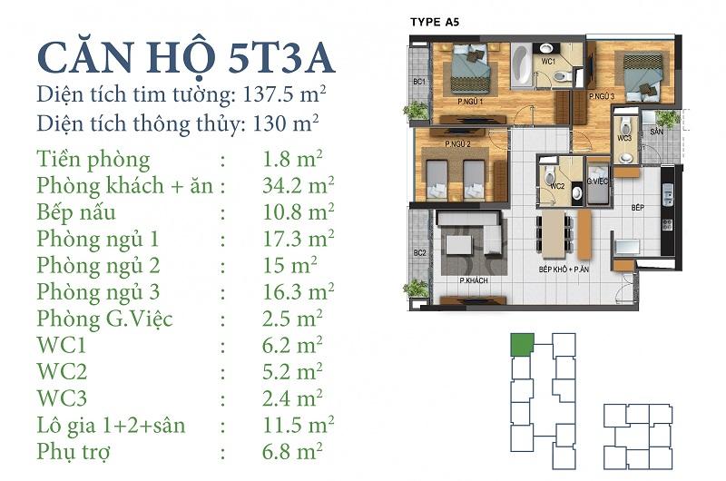 Thiết kế chi tiết căn 5 tòa N03T3A Horizon Tower - Ngoại Giao Đoàn
