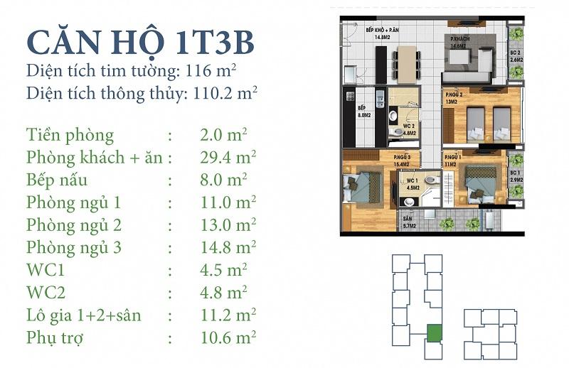 Thiết kế chi tiết căn 1 tòa N03T3B Horizon Tower - Ngoại Giao Đoàn