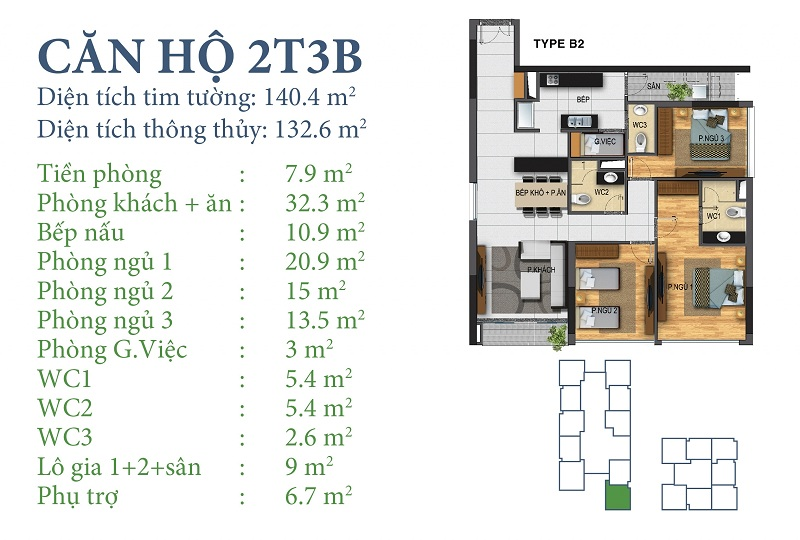 Thiết kế chi tiết căn 2 tòa N03T3B Horizon Tower