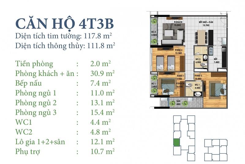 Thiết kế chi tiết căn 4 tòa N03T3B Horizon Tower - Ngoại Giao Đoàn