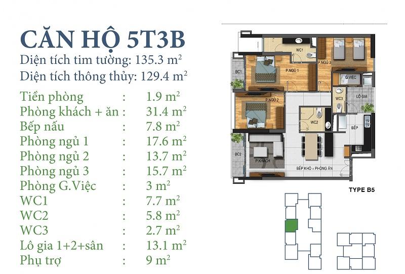 Thiết kế chi tiết căn 5 tòa N03T3B Horizon Tower - Ngoại Giao Đoàn
