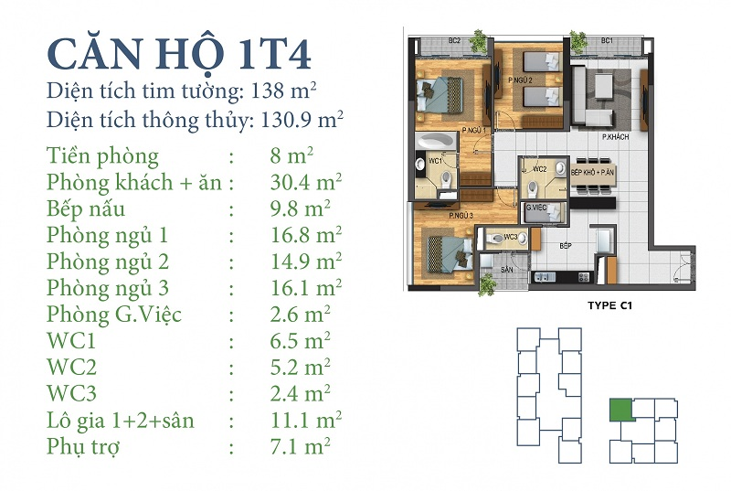 Thiết kế chi tiết căn 1 tòa N03T4 Horizon Tower - Ngoại Giao Đoàn