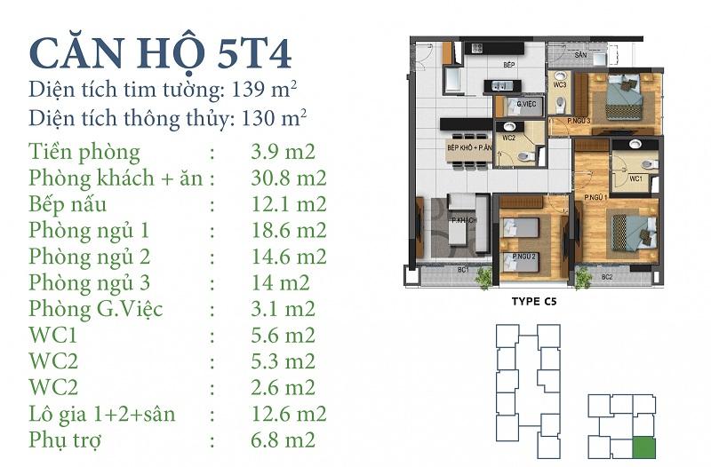 Thiết kế chi tiết căn 5 tòa N03T4 Horizon Tower - Ngoại Giao Đoàn