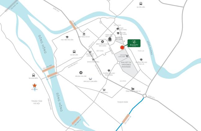 Vị trí dự án Eco City Việt Hưng - Long Biên