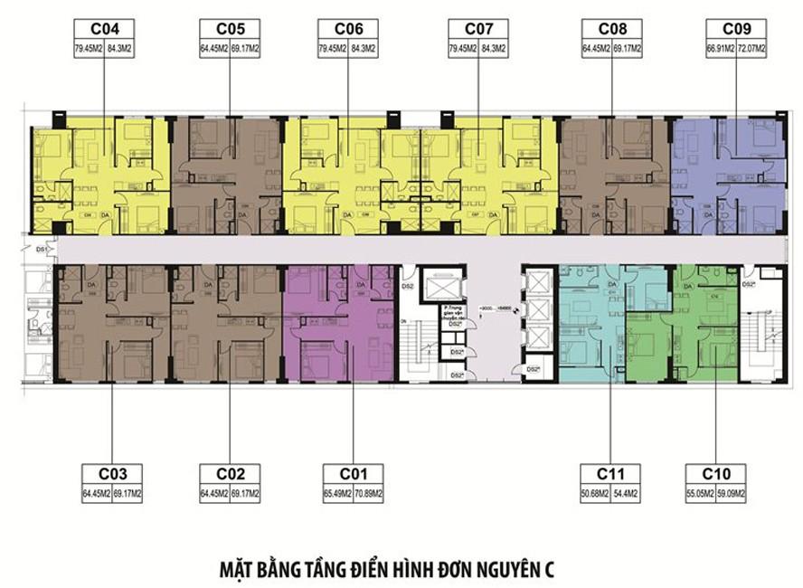 Mặt bằng điển hình tòa C dự án Xuân Mai Spark Dương Nội