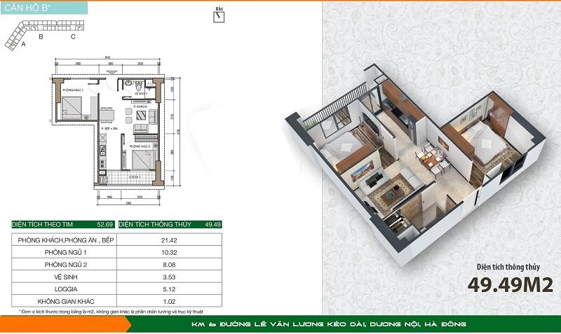 Thiết kế căn hộ loại B1 dự án Xuân Mai Spark Dương Nội