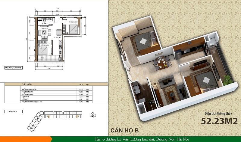 Thiết kế căn hộ loại B dự án Xuân Mai Spark Dương Nội