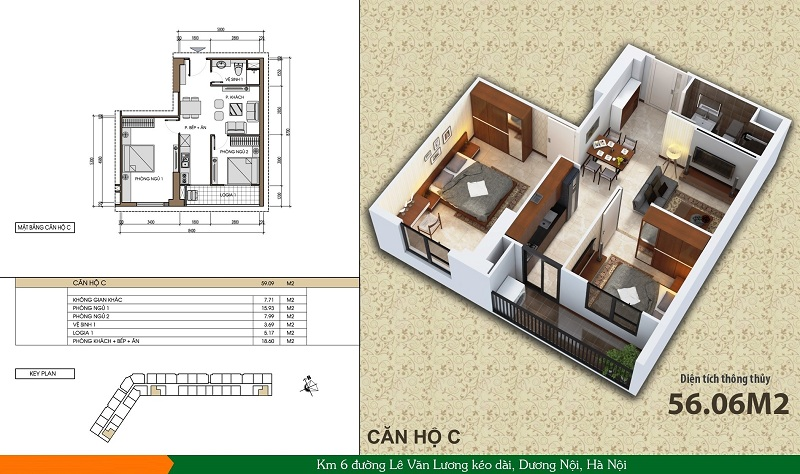 Thiết kế căn hộ loại C Xuân Mai Spark Dương Nội
