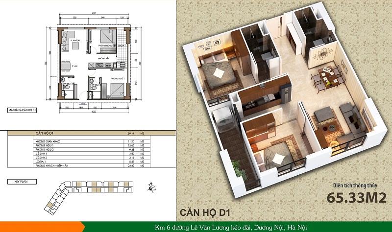 Thiết kế căn hộ loại D1 dự án Xuân Mai Spark Dương Nội