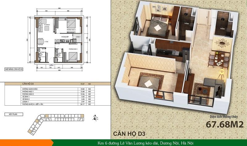 Thiết kế căn hộ loại D3 dự án Xuân Mai Spark Dương Nội
