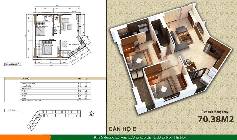 Thiết kế căn hộ loại E dự án Xuân Mai Spark Dương Nội