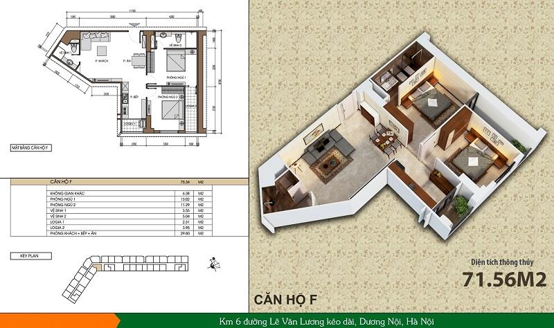 Thiết kế căn hộ loại F dự án Xuân Mai Spark Dương Nội