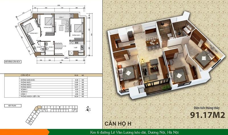 Thiết kế căn hộ loại H dự án Xuân Mai Spark Dương Nội