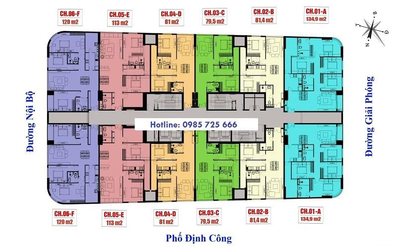 Mặt bằng tòa IP1 Imperia Plaza 360 Giải Phóng