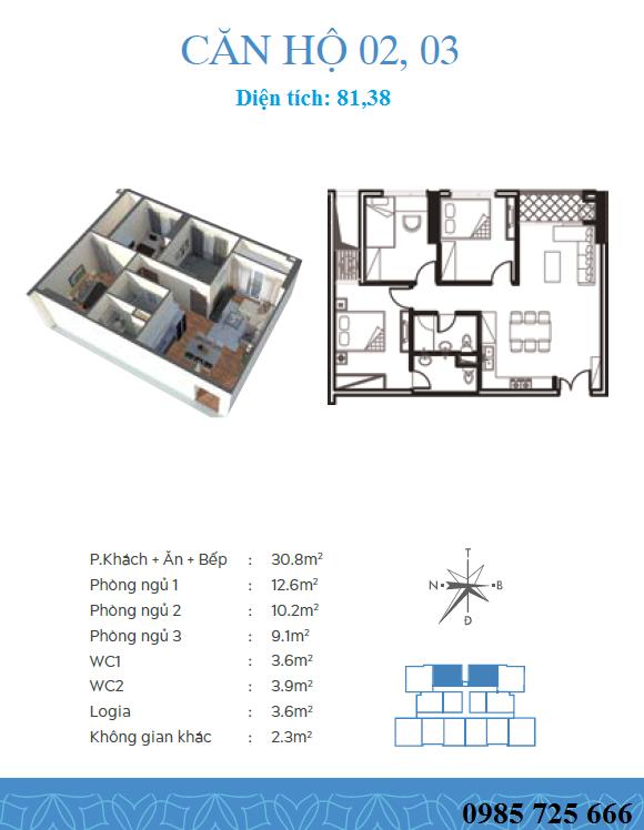 Thiết kế căn 2-3 dự án Trung Yên Smile Building - Nguyễn Cảnh Dị