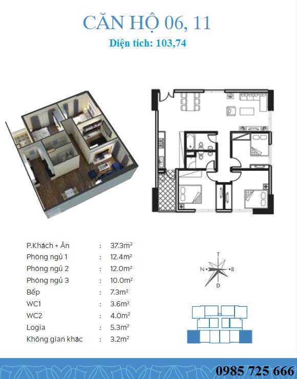 Thiết kế căn 6-11 dự án Trung Yên Smile Building - Nguyễn Cảnh Dị