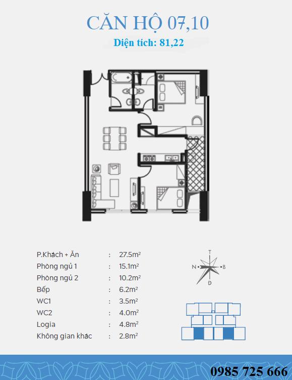 Thiết kế căn 7-10 dự án Trung Yên Smile Building - Nguyễn Cảnh Dị