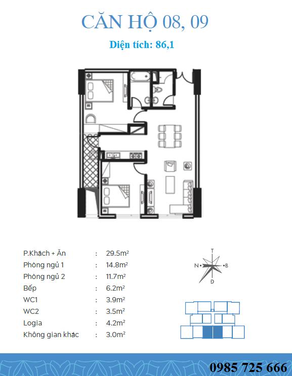 Thiết kế căn 8-9 dự án Trung Yên Smile Building - Nguyễn Cảnh Dị
