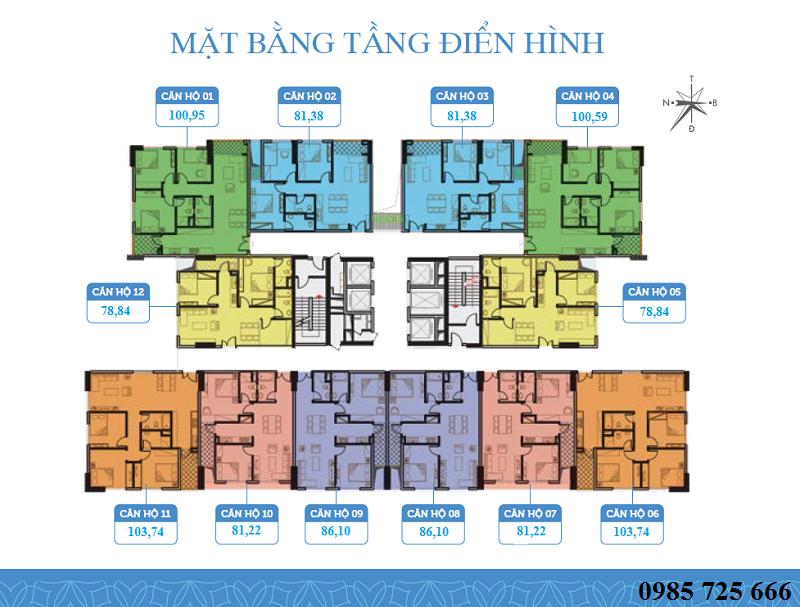 Măt bằng căn hộ dự án Trung Yên Smile Building - Nguyễn Cảnh Dị