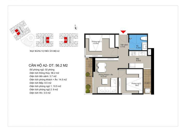Thiết kế căn hộ a2 chung cư Hateco Apollo Xuân Phương