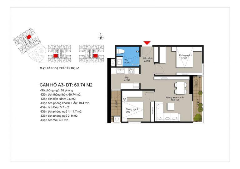 Thiết kế căn hộ a3 chung cư Hateco Apollo Xuân Phương