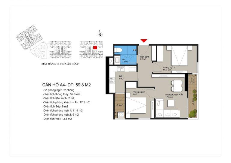 Thiết kế căn hộ a4 chung cư Hateco Apollo Xuân Phương