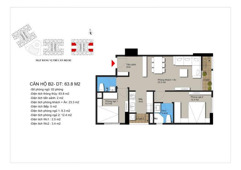 Thiết kế căn hộ b2 chung cư Hateco Apollo Xuân Phương