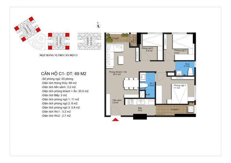 Thiết kế căn hộ c1 chung cư Hateco Apollo Xuân Phương