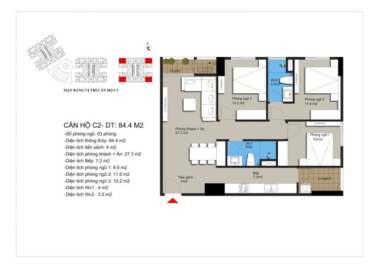 Thiết kế căn hộ c2 chung cư Hateco Apollo Xuân Phương
