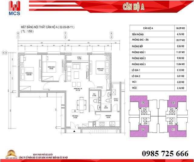 Thiết kế chi tiết căn hộ loại A dự án C1 Xuân Đỉnh