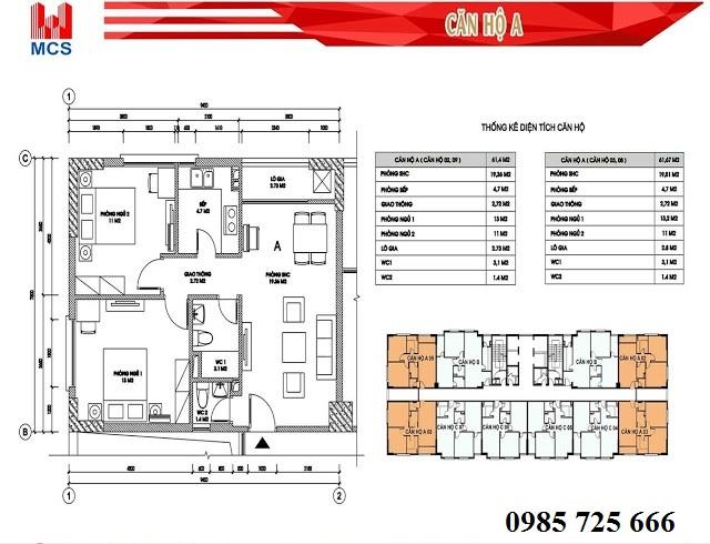 Thiết kế chi tiết căn hộ loại A dự án C2 Xuân Đỉnh