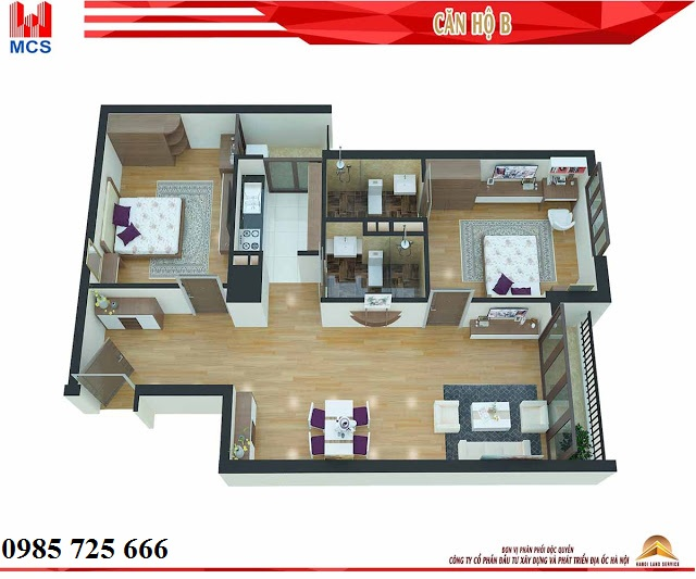 Thiết kế chi tiết căn hộ loại B dự án C1 Xuân Đỉnh
