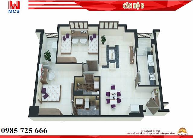 Thiết kế chi tiết căn hộ loại B chung cư C2 Xuân Đỉnh