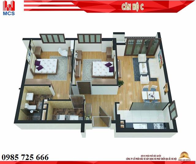 Thiết kế chi tiết căn hộ loại C chung cư C1 Xuân Đỉnh