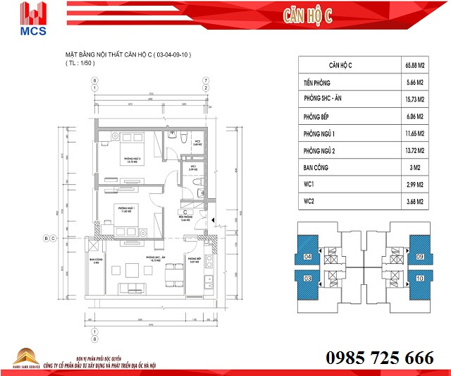 Thiết kế chi tiết căn hộ loại C dự án C1 Xuân Đỉnh